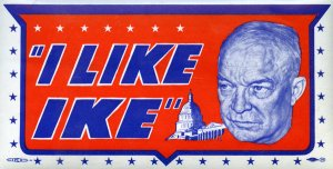 "View of an ""I Like Ike"" water decal from the presidential campaign, showing a close-up portrait of the popular war hero General Dwight D. Eisenhower, 1952. (Photo by Transcendental Graphics/Getty Images)"