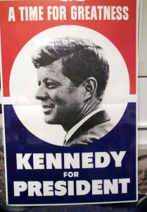 WALTHAM - SEPTEMBER 12: Campaign poster of yesteryear for John F. Kennedy, during his presidential campaign. (Photo by Bill Greene/The Boston Globe via Getty Images)