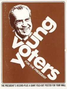 Cover of poster brochure promoting the reelection campaign of Republican president Richard M. Nixon, sponsored by 'Young Voters For the President,' 1972. (Kean Collection/Getty Images)