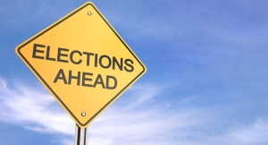 Yellow road warning sign , Elections Ahead , 3d render